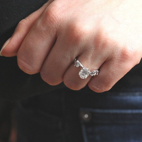 Oval Forever One Moissanite engagement ring by OroSpot