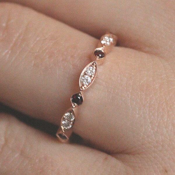 Pave diamond and garnet wedding ring