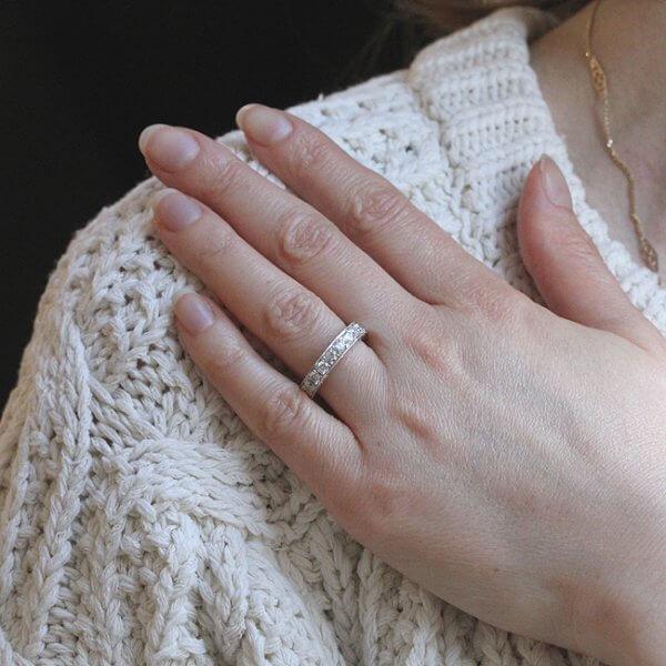 Pave diamond engraved wedding ring