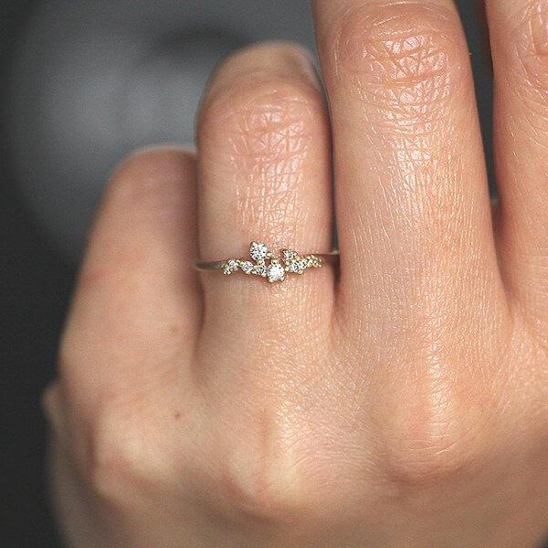 Petite diamond cluster wedding band