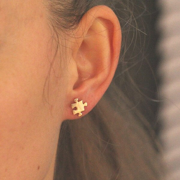 Puzzle Designer Gold Earrings 9mm