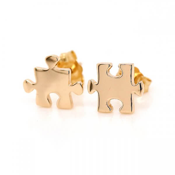 Puzzle Earrings Solid 14k Gold