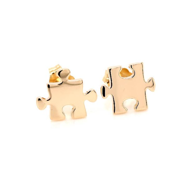Puzzle Push back Earrings in Gold