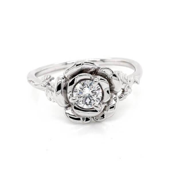 Rose Flower Moissanite Engagement Ring OroSpot