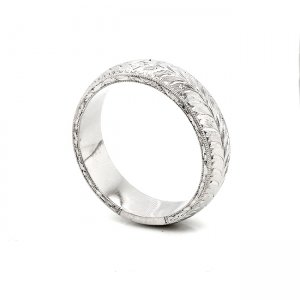 rounded hand etched guys wedding ring OroSpot