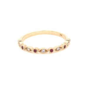 Ruby and diamonds stack thin wedding ring OroSpot