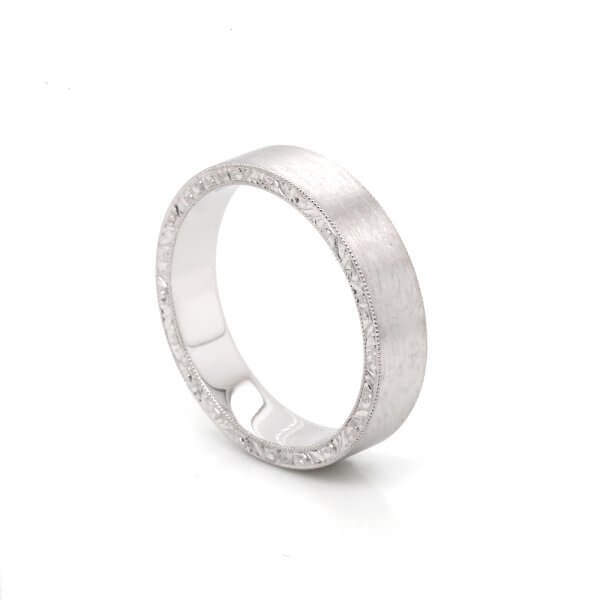 Satin Vintage Flat Men's Wedding Ring