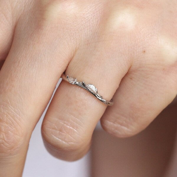 Simplistic and delicate organic wedding band
