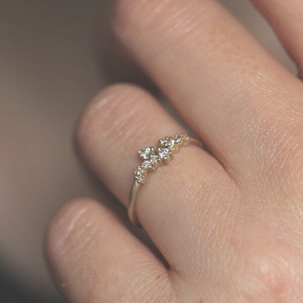 Skinny diamond contemporary promise ring OroSpot