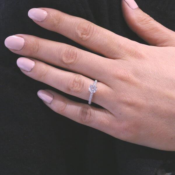 Skinny diamond engagement ring by OroSpot