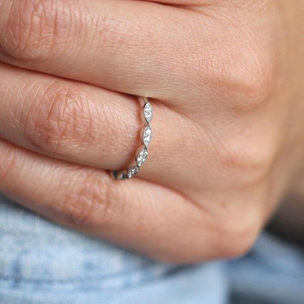 Skinny, elegant delicate diamond band