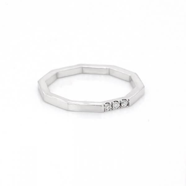 Skinny octagon diamond wedding ring