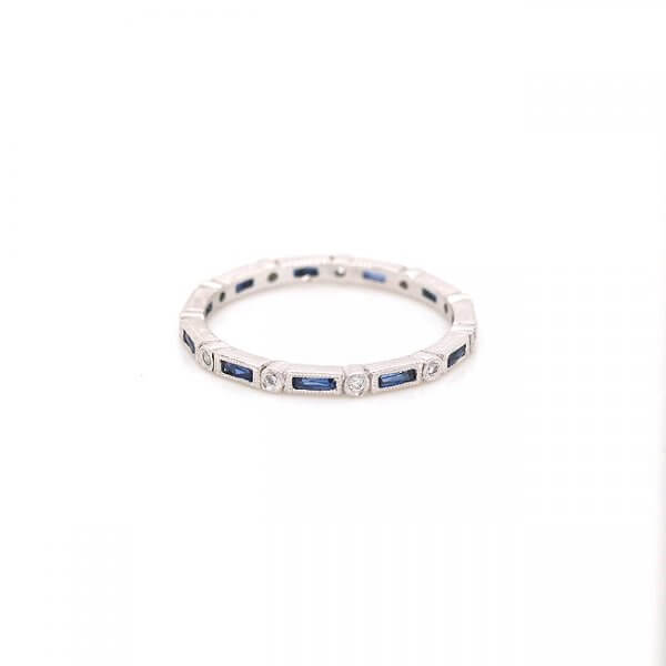 Skinny sapphire baguettes and diamonds eternity ring
