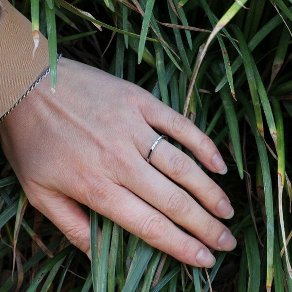 Skinny stack diamond wedding ring