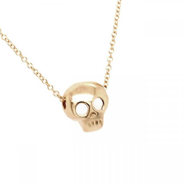 Skull small gold pendant witch chain