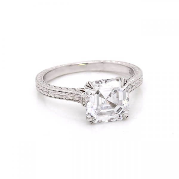 Solitaire Asscher Hand Carved MOissanite Engagement Ring