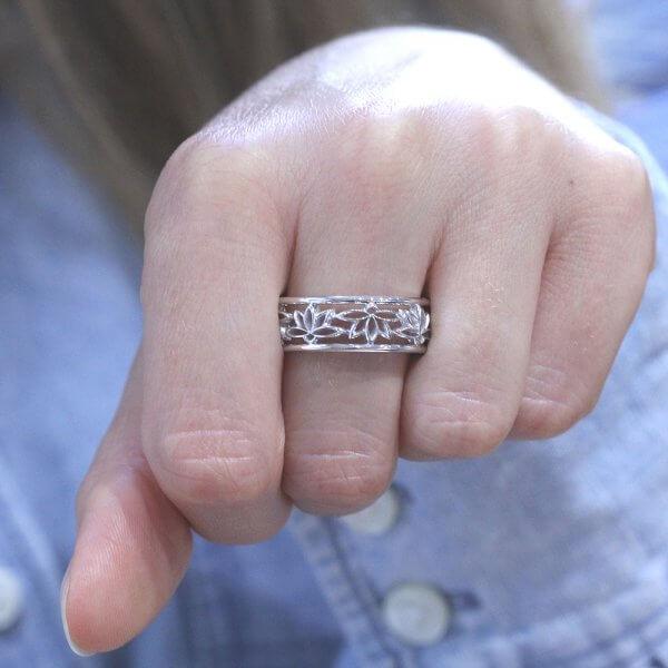 spiritual lotus symbol wedding ring