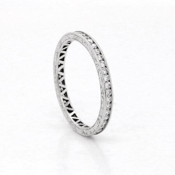 Stackable Diamond Eternity Ring with Hand Engraving 2mm Wide