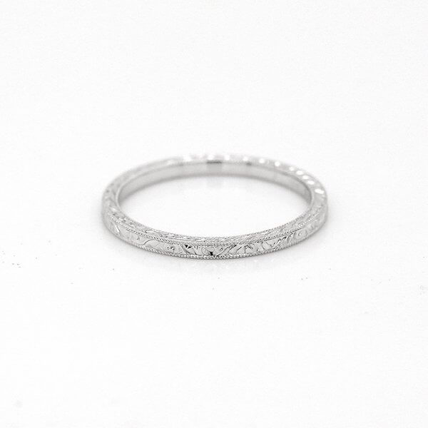 Stackable etched wedding ring