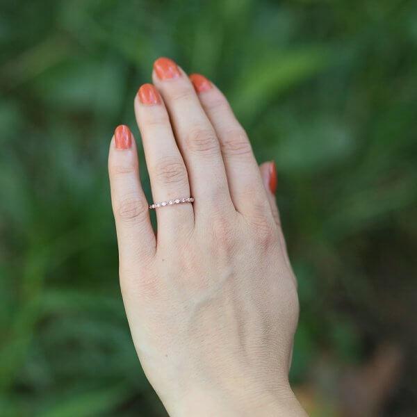 Super skinny diamond stackable wedding ring
