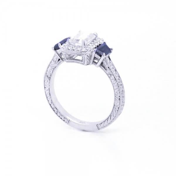 Three Stone Vintage Halo moissanite Ring by OroSpot