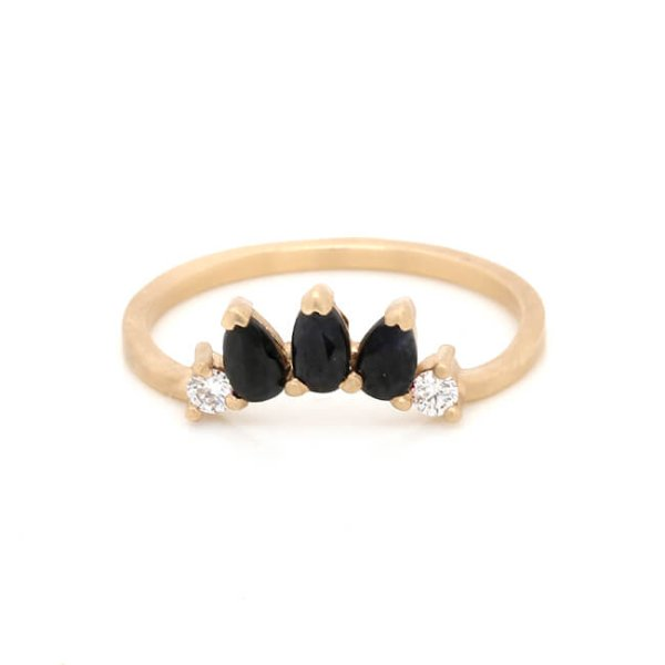 Tiara crown curved diamond band