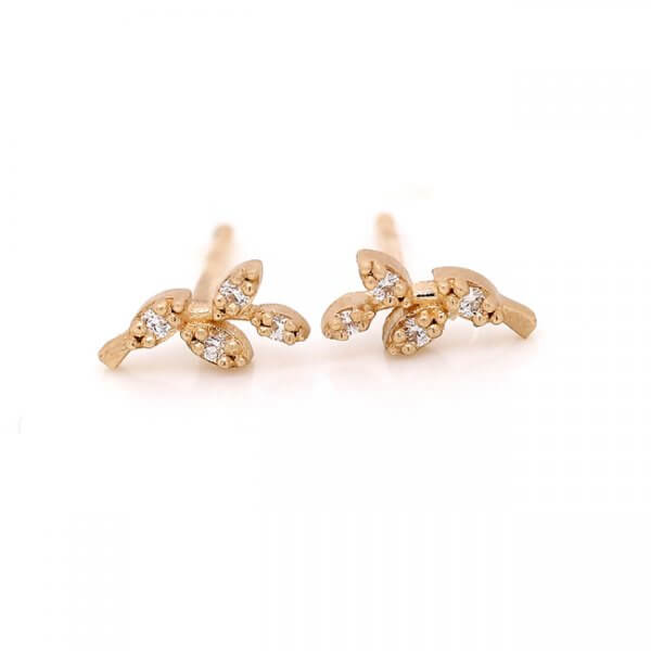Tiny Branch Gold Earrings