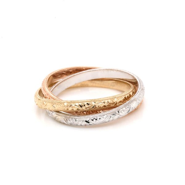 Tri Color Rolling rings gold