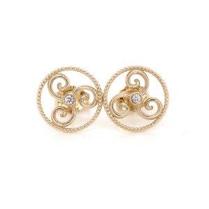 The Celtic Triskele diamond Gold Earrings