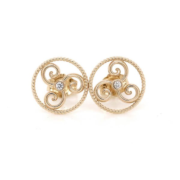The Celtic Triskele diamond Gold Earrings