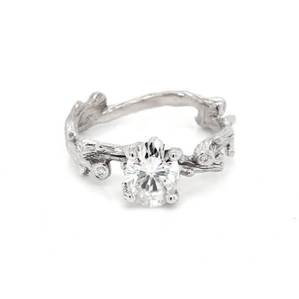 Twig Moissanite Engagement Ring with Diamonds