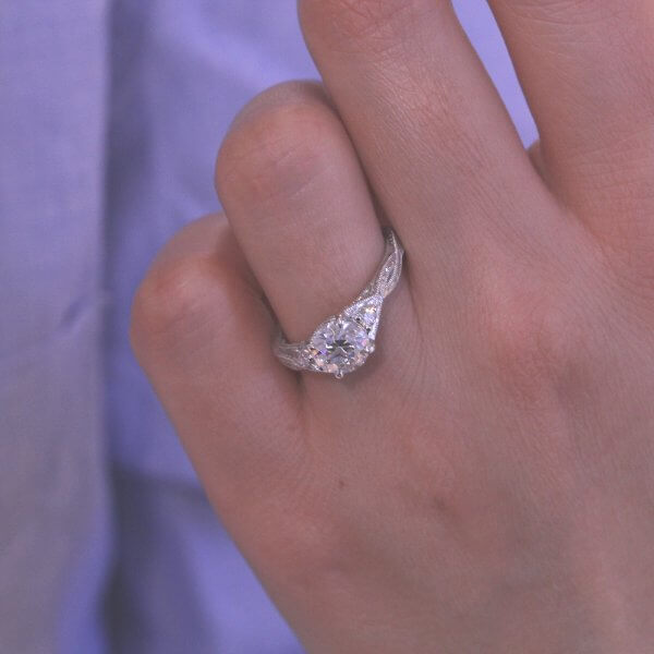 Twisted OEC Moissanite Filigree Ring OroSpot