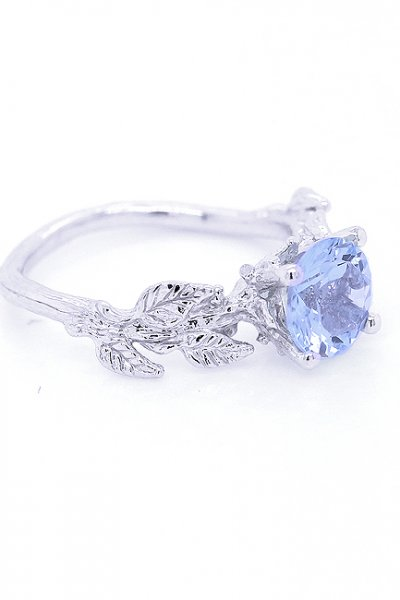 Unique Engagement Ring by OroSpot - Nature-Inspired Leaves with Aquamarine