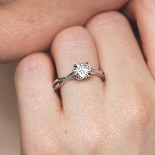 Unique two shank moissanite ring by OroSpot