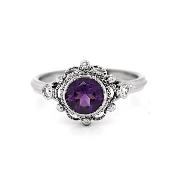 Victorian style round amethyst engagement ring