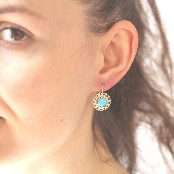 Victorian turquoise cabochon earrings in solid gold