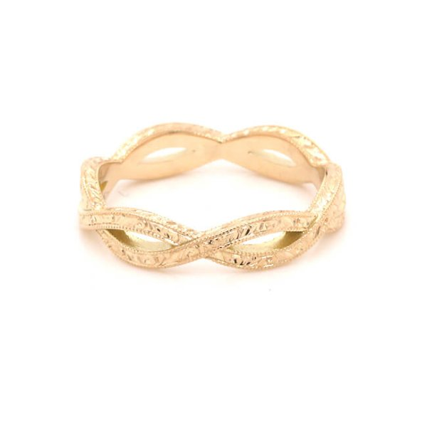 vintage braided engraved wedding ring