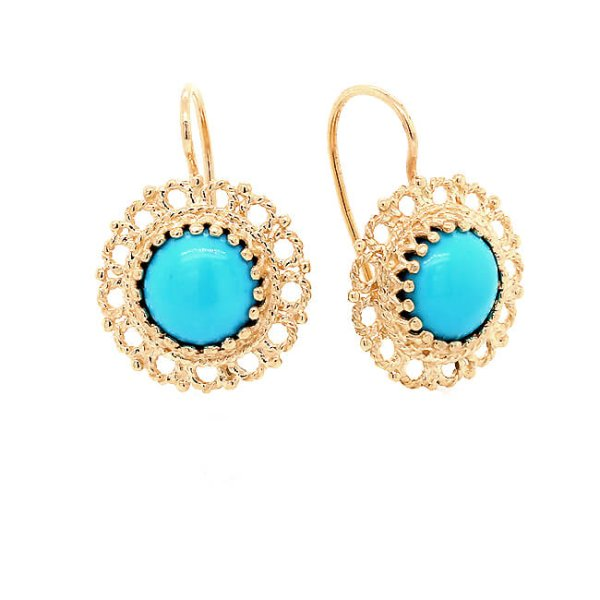 Vintage Cabochon Turquoise Earrings Gold