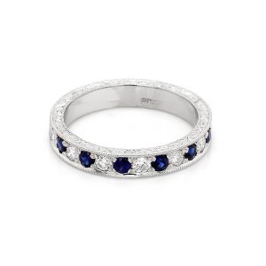 Vintage Diamond and sapphire wedding ring OroSpot