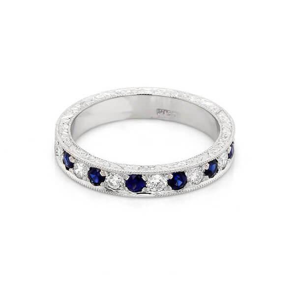 Vintage Diamond and sapphire wedding ring OroSpot