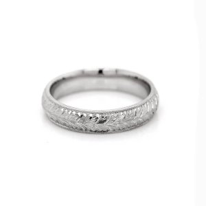 Vintage Domed Engraved Wedding Band