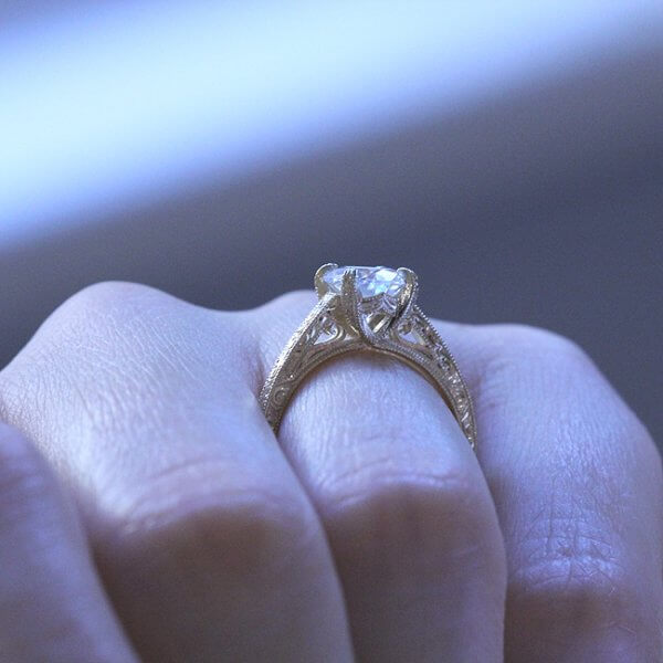 Vintage Hand Engraved Engagement Ring