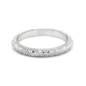 Vintage Hand Engraved Knife Edge Wedding Ring 2.5mm