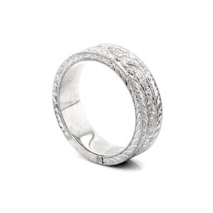 vintage hand engraved wedding band for a guy