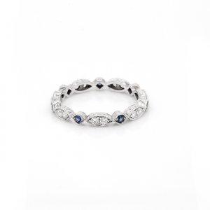 Vintage Sapphire and diamond wedding ring