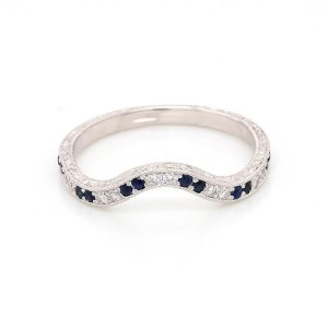 Vintage diamond and sapphire curved band OroSpot