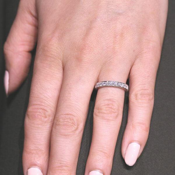 Vintage diamond pave engraved wedding ring
