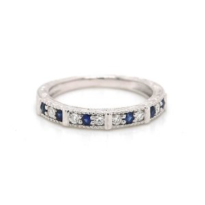Vintage engaved diamond and sapphire wedding band