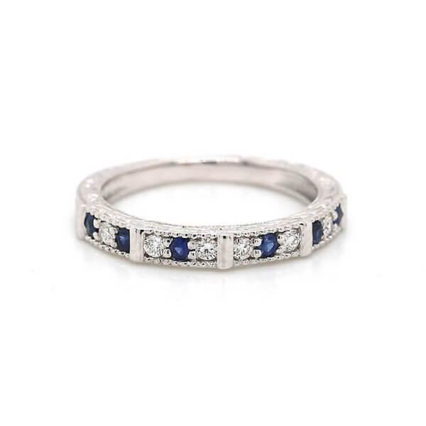 Vintage engaved diamond and sapphire wedding band