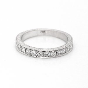 Vintage engraved diamond wedding ring OroSpot